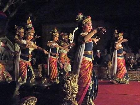 Sekehe Gong Panca Artha performs the Lencana Agung Ubud at Ubud Palace in Ubud, Bali, Indonesia.