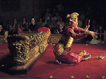 Sekehe Gong Panca Artha performs the Kebyar Trompong at Ubud Palace in Ubud, Bali, Indonesia.