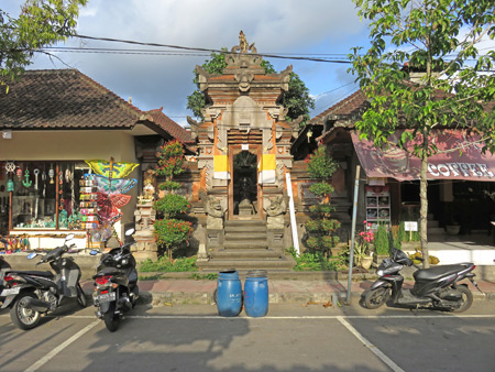 A family compound gate on Jalon Hanoman in Ubud, Bali, Indonesia.