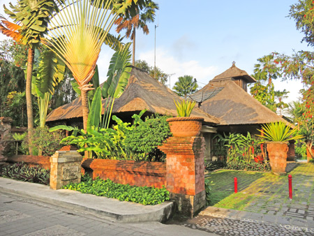 The swank Sanihita Garden hotel basks in the setting sunlight on Jalon Bisma in Ubud, Bali, Indonesia.