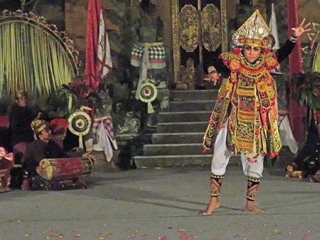 Gunung Sari performs the Baris at Puri Agung Peliatan in Peliatan, Bali, Indonesia.