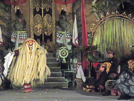 Gunung Sari performs the Barong at Puri Agung Peliatan in Peliatan, Bali, Indonesia.
