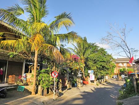 A sun-splashed back street in Peliatan, Bali, Indonesia.