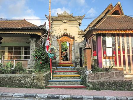 A family compound gate on Jalon Sukma in Peliatan, Bali, Indonesia.
