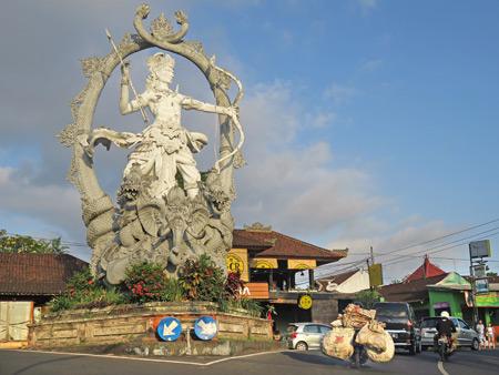 A giant statue of Arjuna at the intersection of Jalon Raya Ubud, Jalon Raya Andong, and Jalon Raya Cokorda Gede Rai in Peliatan, Bali, Indonesia.