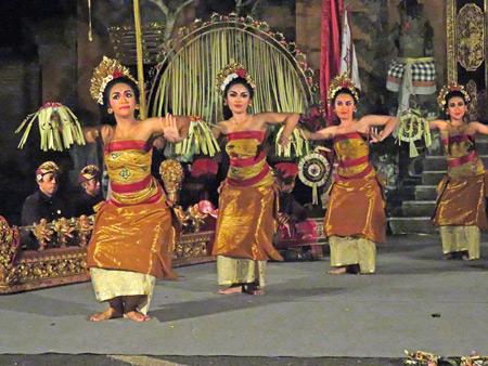 Gunung Sari performs the Pendet at Puri Agung Peliatan in Peliatan, Bali, Indonesia.
