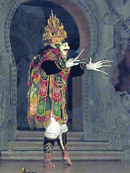 Sanggar Pondok Pekak performs the Jauk dance at Bale Banjar Ubud Kelod in Ubud, Bali, Indonesia.
