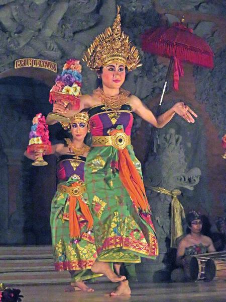 Sanggar Pondok Pekak performs the Sekar Jagat dance at Bale Banjar Ubud Kelod in Ubud, Bali, Indonesia.