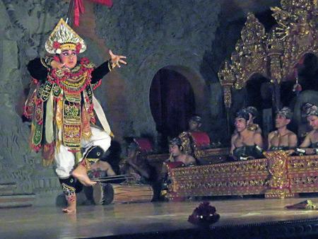 Sanggar Pondok Pekak performs the Baris dance at Bale Banjar Ubud Kelod in Ubud, Bali, Indonesia.