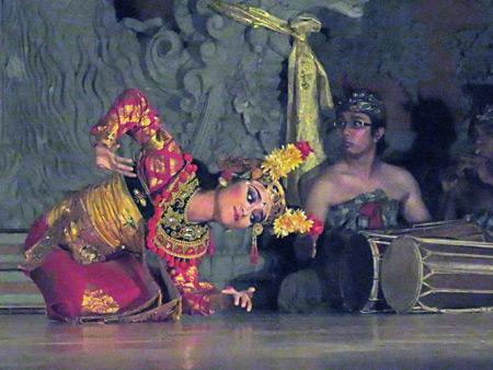Sanggar Pondok Pekak performs the Legong Lasem dance at Bale Banjar Ubud Kelod in Ubud, Bali, Indonesia.