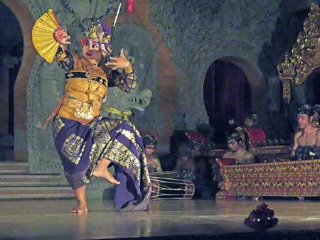 Sanggar Pondok Pekak performs the Teruna Jaya dance at Bale Banjar Ubud Kelod in Ubud, Bali, Indonesia.