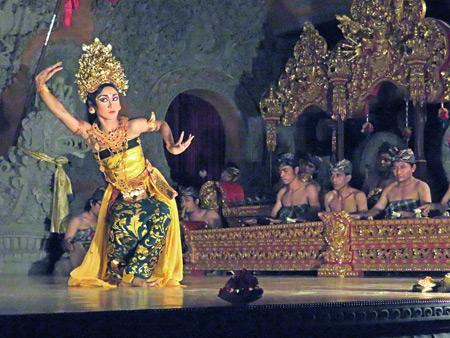 Sanggar Pondok Pekak performs the Oleg Tambulilingan dance at Bale Banjar Ubud Kelod in Ubud, Bali, Indonesia.