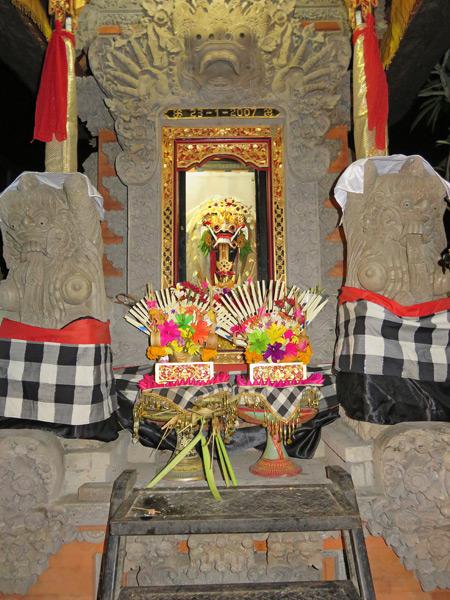 A shrine for Rangda at a Hindu temple ceremony at Pura Dalem Desa Pakraman Taman Kaja in Ubud, Bali, Indonesia.