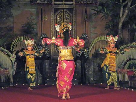 Sekehe Gong Panca Artha performs the Legong Kraton dance at Ubud Palace in Ubud, Bali, Indonesia.