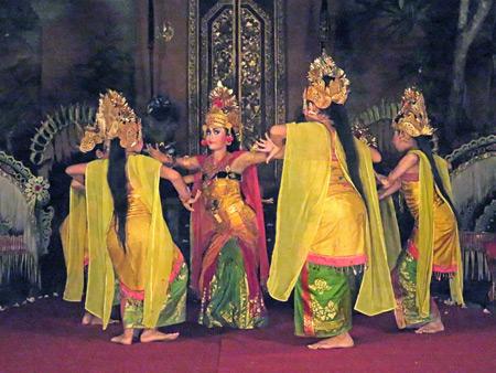 Sekehe Gong Panca Artha performs the Sunda Upasunda dance at Ubud Palace in Ubud, Bali, Indonesia.