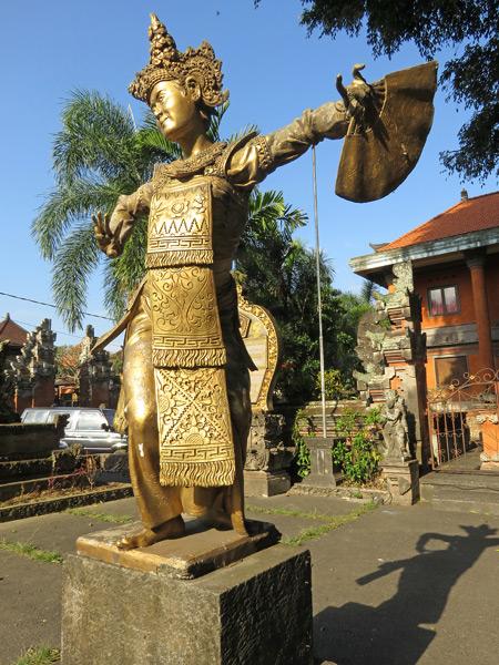 A statue of a Legong dancer on Jalan Raya Cokorda Gede Rai in Peliatan, Bali, Indonesia.