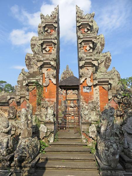 A Balinese Hindu temple split gate in Ubud, Bali, Indonesia.