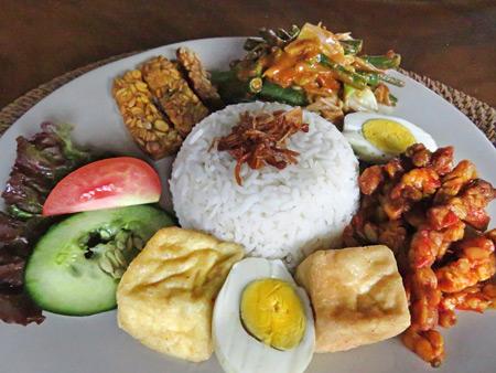 Nasi campur at Warung Mandi in Ubud, Bali, Indonesia.