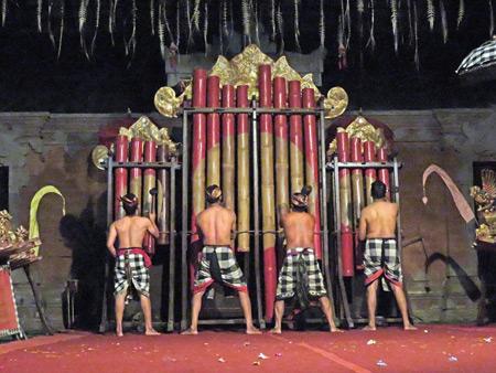 Suara Sakti performs on the Surya Agung bamboo gamelan in Bentuyung, Bali, Indonesia.
