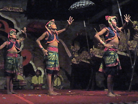 Suara Sakti performs the Gopola dance in Bentuyung, Bali, Indonesia.