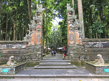 The entry gate to the Holy Monkey Forest in Bukit Sari Sangeh, Bali, Indonesia.