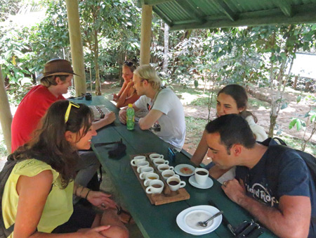 The crew samples coffee in Perean, Bali, Indonesia.