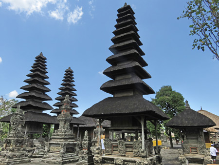 A collection of multi-tiered merus at Pura Taman Ayun near Mengwi, Bali, Indonesia.