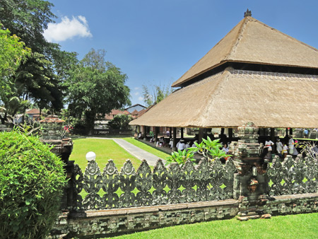 A large, covered pavilion at Pura Taman Ayun near Mengwi, Bali, Indonesia.
