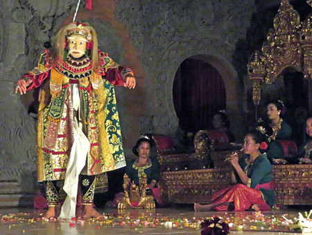 Luh Luwih performs the Topeng Tua dance at Bale Banjar Ubud Kelod in Ubud, Bali, Indonesia.