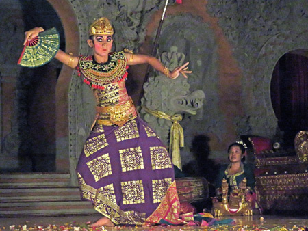 Luh Luwih performs the Taruna Jaya dance at Bale Banjar Ubud Kelod in Ubud, Bali, Indonesia.