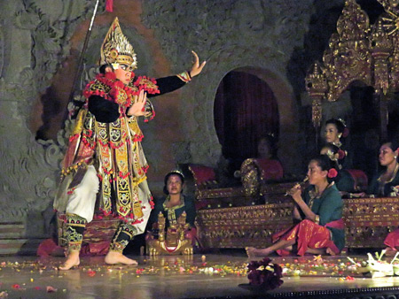Luh Luwih performs the Baris dance at Bale Banjar Ubud Kelod in Ubud, Bali, Indonesia.
