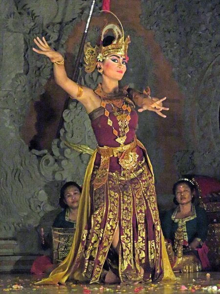 Luh Luwih performs the Cendrawasih dance at Bale Banjar Ubud Kelod in Ubud, Bali, Indonesia.