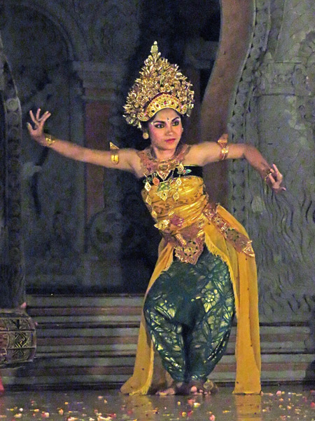 Luh Luwih performs the Oleg Tambulilingan dance at Bale Banjar Ubud Kelod in Ubud, Bali, Indonesia.