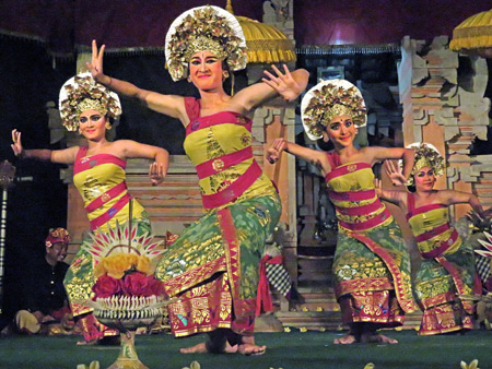 Semara Ratih performs the Gadung Melati dance at Jaba Pura Desa Kutuh in Ubud, Bali, Indonesia.