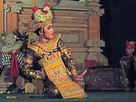 Semara Ratih performs the Legong Jobog dance at Jaba Pura Desa Kutuh in Ubud, Bali, Indonesia.