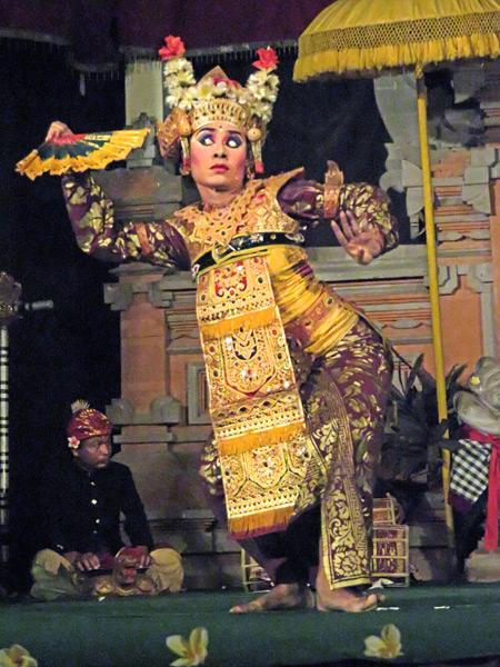 Semara Ratih performs the Legong Jobog dance at Jaba Pura Desa Kutuh in Ubud, Bali, Indonesia.