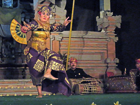 Semara Ratih performs the Taruna Jaya dance at Jaba Pura Desa Kutuh in Ubud, Bali, Indonesia.