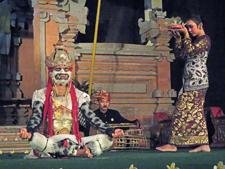 Semara Ratih performs the Hanoman the Monkey King dance at Jaba Pura Desa Kutuh in Ubud, Bali, Indonesia.
