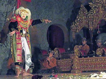 Sanggar Suwara Guna Kanti performs the Topeng Tua dance at Bale Banjar Ubud Kelod in Ubud, Bali, Indonesia.