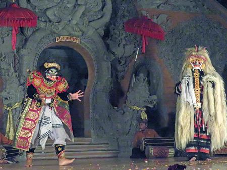 Sanggar Suwara Guna Kanti performs the Barong Waksira dance at Bale Banjar Ubud Kelod in Ubud, Bali, Indonesia.