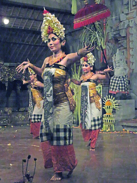 Tirta Sari performs the Barong Taru Pramana dance at the Balerung in Peliatan, Bali, Indonesia.