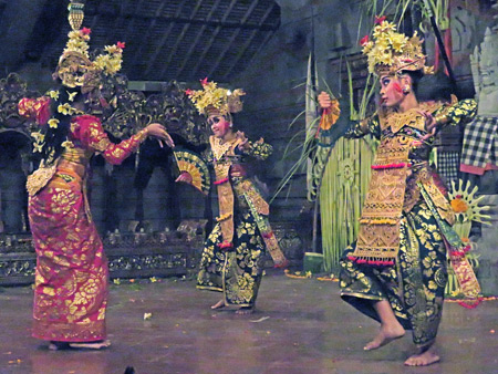 Tirta Sari performs the Legong Lasem dance at the Balerung in Peliatan, Bali, Indonesia.