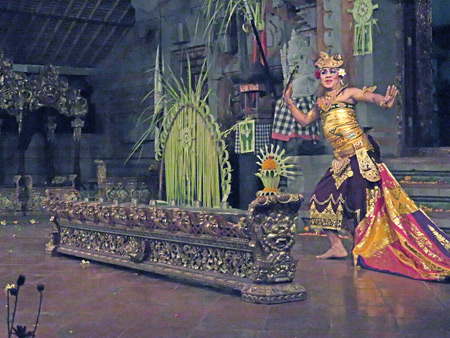 Tirta Sari performs the Kebyar Trompong dance at the Balerung in Peliatan, Bali, Indonesia.