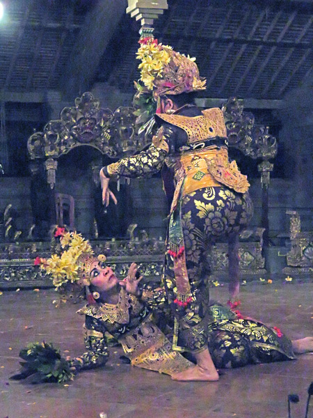 Tirta Sari performs the Legong Jobog dance at the Balerung in Peliatan, Bali, Indonesia.
