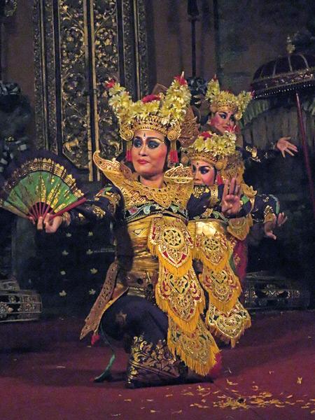 Sekaa Gong Jaya Swara Ubud perform the Legong Supraba dance at Ubud Palace in Ubud, Bali, Indonesia.