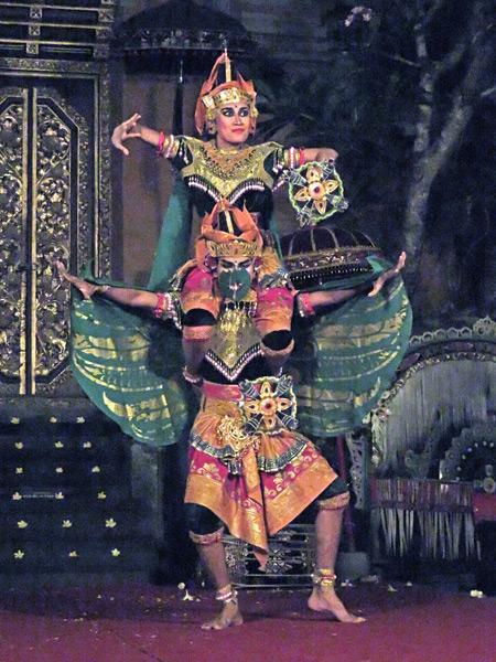 Sekaa Gong Jaya Swara Ubud perform the Kreasi Garuda Wisnu dance at Ubud Palace in Ubud, Bali, Indonesia.