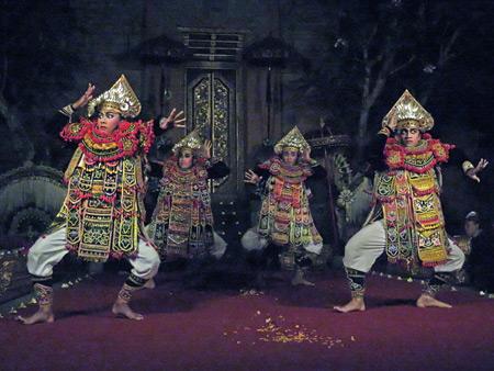 Sekaa Gong Jaya Swara Ubud perform the Baris dance at Ubud Palace in Ubud, Bali, Indonesia.