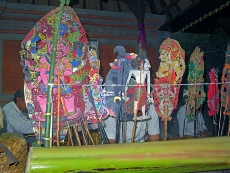 A wayang performance at a Hindu temple ceremony at Pura Penataran Pande in Peliatan, Bali, Indonesia.
