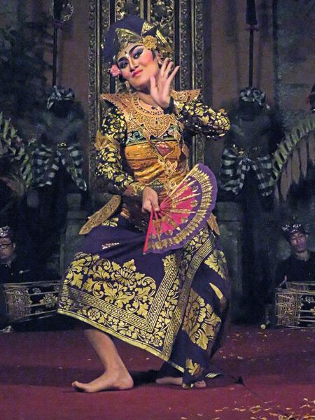 Sekaa Gong Jaya Swara Ubud perform the Taruna Jaya dance at Ubud Palace in Ubud, Bali, Indonesia.