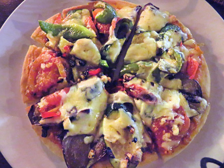 A delicious pizza at Bumbu Bali in Ubud, Bali, Indonesia.